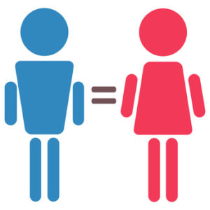 woman and man equality, pink and blue symbols isolated ector